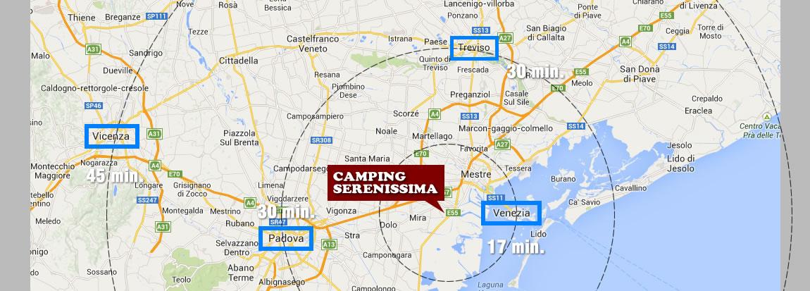 Camping Serenissima - Venezia, distanze in minuti