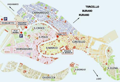 Cartina Venezia Centro Storico.Visita A Venezia Il Centro Storico Primo Giorno Camping Serenissima A Venezia